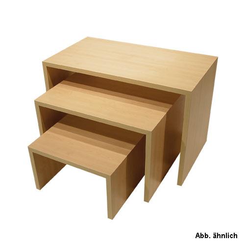 Stufentisch-Set Dekor weiß