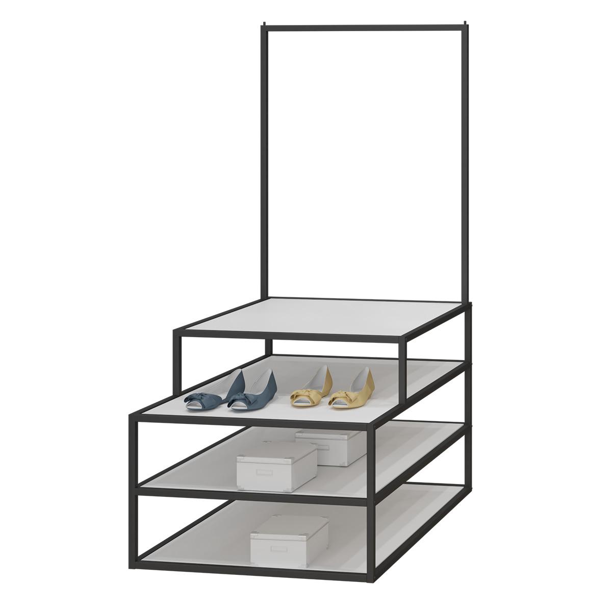 Textil Stufentisch schwarz/weiß