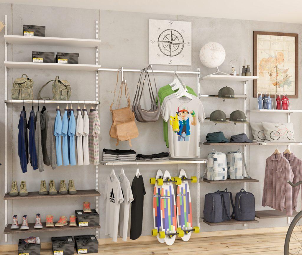 ladeneinrichtung wandschienen f r den einzelhandel ladenbau blog shopdirect schweiz. Black Bedroom Furniture Sets. Home Design Ideas